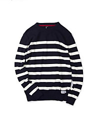 Men's Casual/Daily Street chic Long Cashmere,Striped Blue Black Round Neck Long Sleeve Cotton Fall Medium Micro-elastic