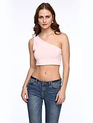 Women's Solid Pink / Black T-shirt,Off Shoulder Sleeveless