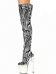 Feminino-Botas-Conforto Inovador-Plataforma-Zebra-Outras Peles de Animais-Ar-Livre Social Festas & Noite