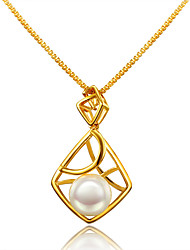 Women's Pendant Necklaces Pearl Pearl Gold Plated 18K gold Geometric Circular Design Unique Design Euramerican Gold JewelryWedding Party