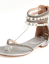 Women's Sandals Spring Summer Fall Other PU Party & Evening Casual Low Heel Pearl Black Pink White Silver Gold