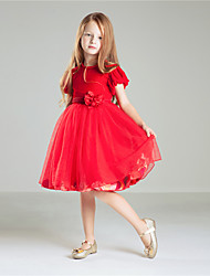 Princess Knee-length Flower Girl Dress - Velvet Chiffon Jewel with Appliques Bow(s)