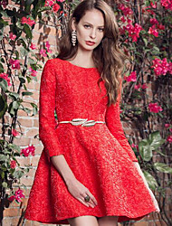 Dentelle Robe Femme Décontracté / Quotidien simple,Couleur Pleine Col Arrondi Au dessus du genou Manches ¾ Rouge Polyester Printemps