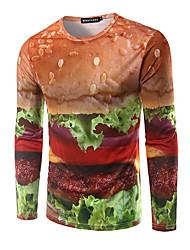 Herren Geometrisch Einfach Ausgehen T-shirt,Rundhalsausschnitt Langarm Orange Baumwolle