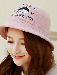 Winter New English Small Fish Pattern Wool Fisherman Hat Pots Cap Letters Dome Cap Wool Felt Hat