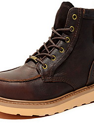 Men's Boots Fall Winter Cowhide Outdoor Casual Black Coffee Khaki