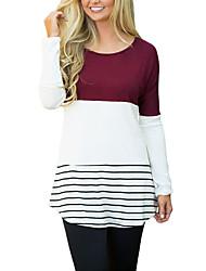 Women's Color Block Lace Patchwork Long Sleeve Blouse Top