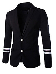 Men's Casual/Daily Simple Blazer,Solid V Neck Long Sleeve Blue White Black Cotton
