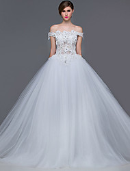 Ball Gown Wedding Dress Court Train Off-the-shoulder Tulle with Appliques Beading Crystal Flower Sequin