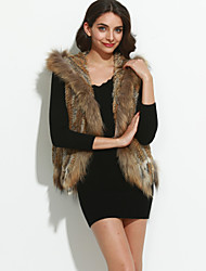 Women's Tassel Authentic Knitted Rabbit Fur Vest With Raccoon Fur Collar With Hood