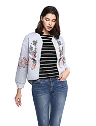 Women's Embroidery Going out Casual/Daily Sophisticated Jackets,Embroidered Long Sleeve Black Gray Cotton