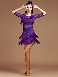 Devrions-nous des robes de danse en latin Femmes spandex dentelle épissure moitié manches royale