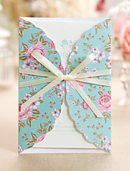 Personalized Tri-Fold Wedding Invitations Invitation Cards Engagement Party Cards-50 Piece/Set Artistic Style Hard Card Paper Ribbons