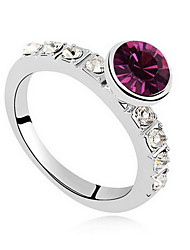 Ring Crystal Zircon Alloy Fashion White Purple Blue Pink Jewelry Daily Casual 1pc