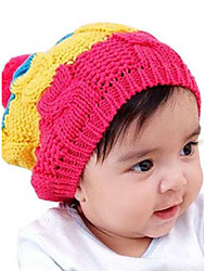 Girl's Cute Winter Going out/Casual/Daily Knitting Keep Warm Rainbow Patchwork Headgear Baby Hat Children Cap