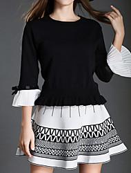 Set Jupe Costumes Femme,Couleur Pleine Sortie Vacances Mignon Automne Manches ¾ Col Arrondi Blanc Noir Coton Moyen
