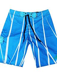 мужские быстросохнущая дышащая пляж плавать шорты печати полиэфирной красный / синий