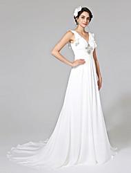LAN TING BRIDE A-line Wedding Dress - Elegant & Luxurious Open Back Court Train V-neck Chiffon with Beading Side-Draped