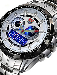 Men TVG Watches Famous Brand Silver Steel Dual Display Quartz Watch