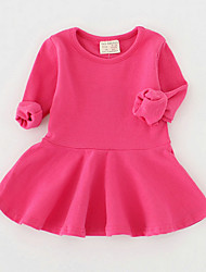 Girl's Cotton Casual Spring/Fall Going out Casual/Daily Solid Color Skirt Sweet Long Sleeve Princess Dress