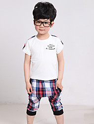 Boy's Cotton Fashion Summer Going out Casual/Daily Print Plaid Short Sleeve Tee & Harem Pants Two-piece Set Sport Suit