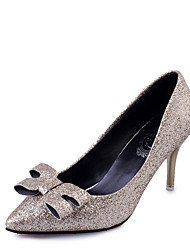Women's Heels Fall / Winter Comfort PU Casual Low Heel Slip-on Black / Silver / Gold Others