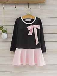 Girl's Casual/Daily Patchwork Dress,Cotton Spring Fall Long Sleeve