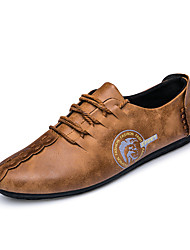 Men's Wedding Shoes Spring Summer Fall Winter Comfort Leatherette Office & Career Party & Evening Casual Lace-up Khaki Black