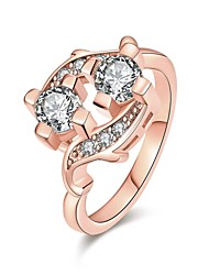 Anéis Zircônia cúbica Diário Casual Jóias Zircão Cobre Feminino Anel 1peça,7 8 Ouro Rose