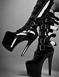 Women's Boots Spring Summer Fall Winter Comfort Novelty PU Outdoor Party & Evening Dress Stiletto Heel Button Zipper Black Walking