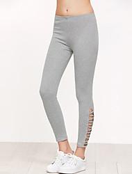 Feminino Skinny Chinos Calças-Cor Única Esportivo Casual Moda de Rua Simples Cintura Média Elasticidade Poliéster Micro-ElásticoCom Molas