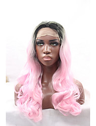 Ombre Pink Wig 14-24 Inch Body Wave Glueless Lace Front Wig Heat Resistant Synthetic Wigs