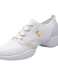 Women's Dance Shoes Fabric Fabric Dance Sneakers Sneakers Chunky Heel Practice Indoor Outdoor Performance White