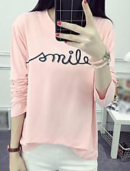 Damen Druck Street Schick Lässig/Alltäglich T-shirt,Rundhalsausschnitt Herbst Langarm Rosa / Weiß / Grau Baumwolle Mittel