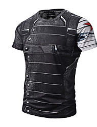 Men's Casual/Daily Simple Active Punk & Gothic Summer T-shirt,Print Round Neck Short Sleeves Cotton Polyester