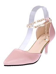 Women's Heels Comfort PU Spring Casual Walking Comfort Chain Stiletto Heel White Black Blushing Pink 2in-2 3/4in