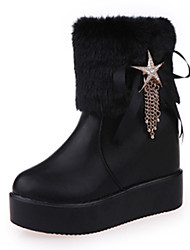 Women's Boots Fall Winter Other PU Office & Career Casual Wedge Heel Rhinestone Chain Black White