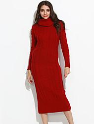Lungo Maxi pull Da donna-Casual Semplice Tinta unita Rosso A collo alto Manica lunga Cotone Autunno Inverno Medio spessoreMedia