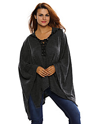 Women's Grommet Lace-up Poncho in Black