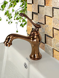 Antique Centerset Widespread with  Ceramic Valve Single Handle One Hole for  Rose Gold , Bathroom Sink Faucet