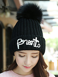 Fashion new autumn and winter women 's English hair ball single - cap Hooded cap warm knitted cap wool hat