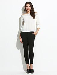 Tee-shirt Femme,Couleur Pleine Décontracté / Quotidien simple Mignon Automne Manches Longues Epaules Dénudées Blanc Fin