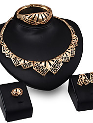 Women Wedding Bridal Gold Necklace Earrings Ring Bracelet Exaggerated Jewelry Four Piece