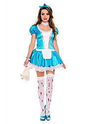 Cosplay Costumes Party Costume Maid Costumes Career Costumes Movie Cosplay Blue Solid Dress Headwear Halloween Carnival Female Polyester