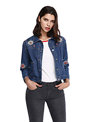 Women's Going out Casual/Daily Active Denim Jackets,Embroidered Long Sleeve Blue Others