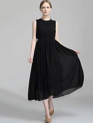 Women's Plus Size Beach Party Boho Fashion Swing Chiffon Dress Solid Backless Maxi Sleeveless Polyester Black /Red Summer