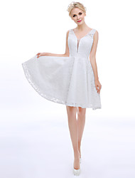 A-Fu Cocktail Party Dress - Beautiful Back A-line High Neck Knee-length Lace with Lace