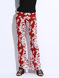 Women's Print Red / Black Loose Pants,Vintage