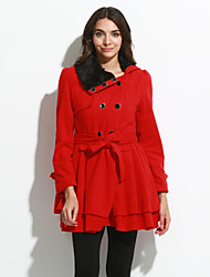 Women's Casual/Daily Vintage CoatSolid Peter Pan Collar Long Sleeve Winter Blue / Red Polyester Thick