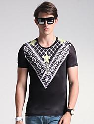 Herren Solide Geometrisch Einfach Aktiv Ausgehen Lässig/Alltäglich T-shirt,Rundhalsausschnitt Sommer Kurzarm Lila Seide Baumwolle Mittel